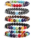 Amazon Price History for:J.Fée 5 Pack Chakras Reiki Healing Gemstone Bracelet Men&Women Stretch Bracelet - Healing Oil Diffuser Bracelet Series