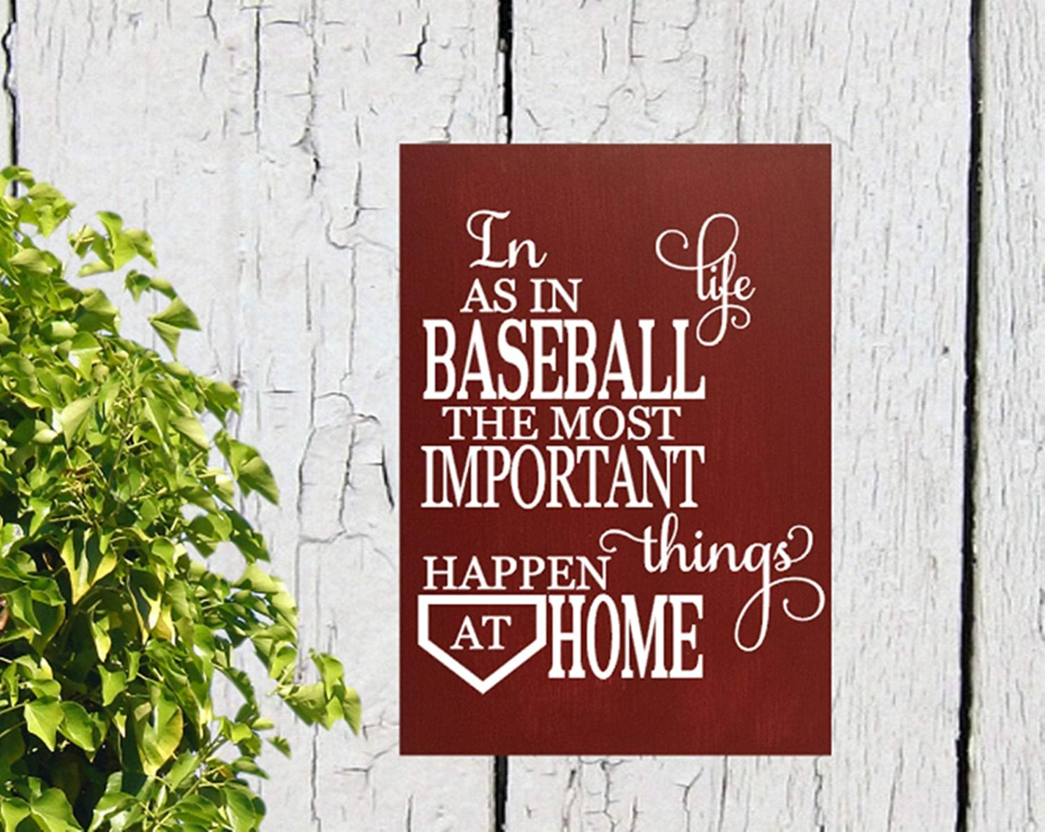 43LenaJon Baseball in Life as in Baseball The Important Things Happen at Home Shabby Chic Wood Sign