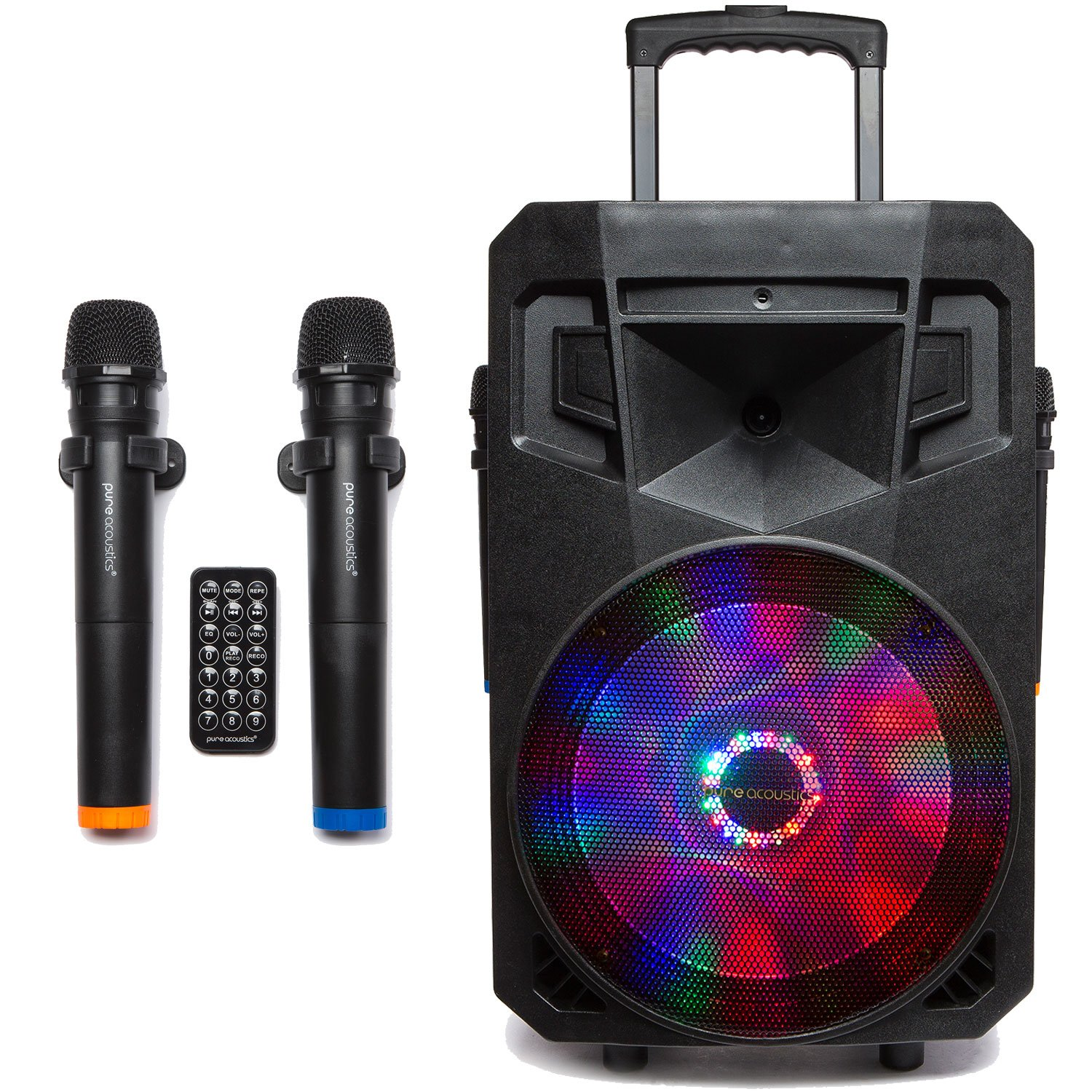 PA System with LED Party Lights, Wireless Portable Bluetooth Audio Speaker with 2 Wireless Microphones FM Radio Party Karaoke Machine Sound System MCP-75 Suono Soundstream by Pure Acoustics MCP-75BLED