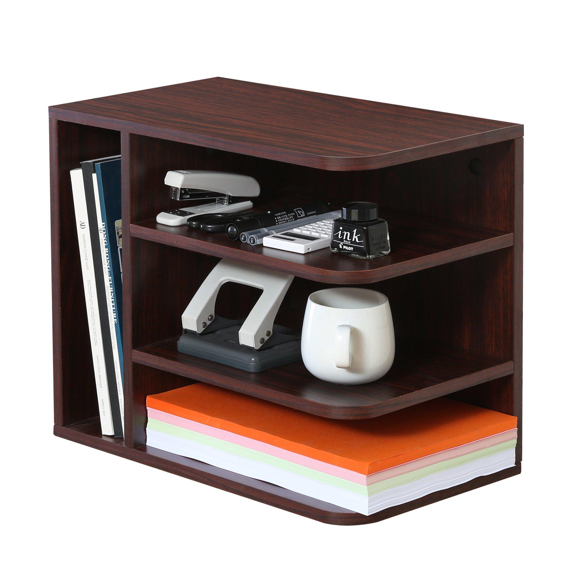 Homury Wood Desk Organizer Desktop File Mail Paper Letter Holder Sorter Organizer Tray for Office and Home,Brown