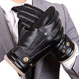 WARMEN Mens Touchscreen Texting Winter PU Faux Leather Gloves Driving Long Fleece Lining Black - Wool/Cashmere Blend Cuff
