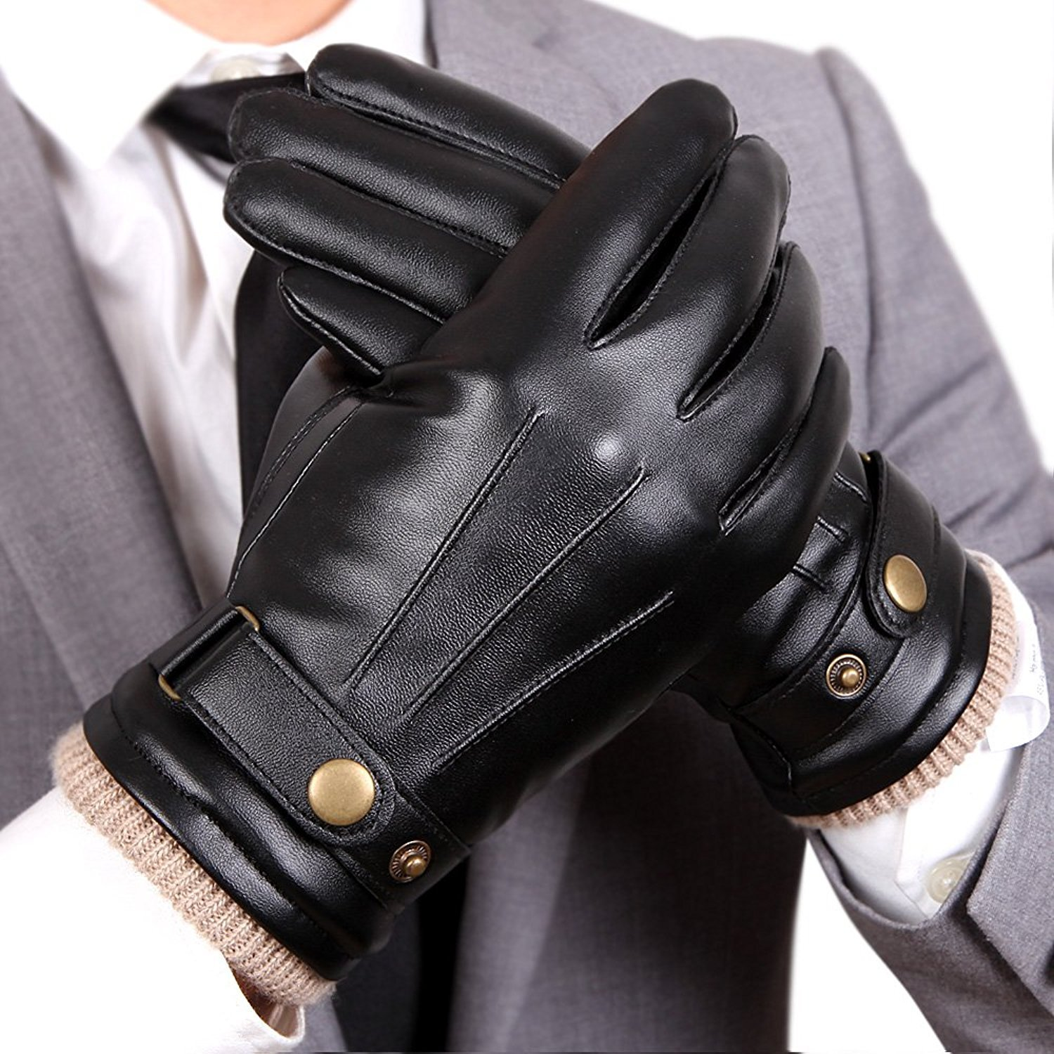 WARMEN Mens Touchscreen Texting Winter PU Faux Leather Gloves Driving Long Fleece Lining Black - Wool/Cashmere Blend Cuff (8.5, Black (Touchscreen))