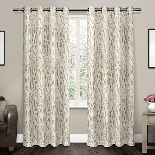 Exclusive Home Curtains Oakdale Sheer Textured Linen Grommet Top Curtain Panel Pair