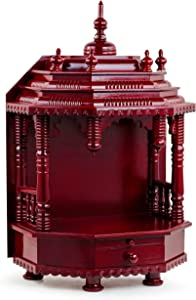 Premium Hand Made Wooden Temple | Wooden Indian Mandir | Sheesham Wooden Madir | Nagina International (Dark Varnish)
