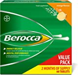 Berocca Energy Vitamin Tablets Orange Flavour, High Dose of Vitamin B Complex, Vitamin B12, Also Contains Vitamin C and Magnesium, Pack of 60 - 2 Months Supply