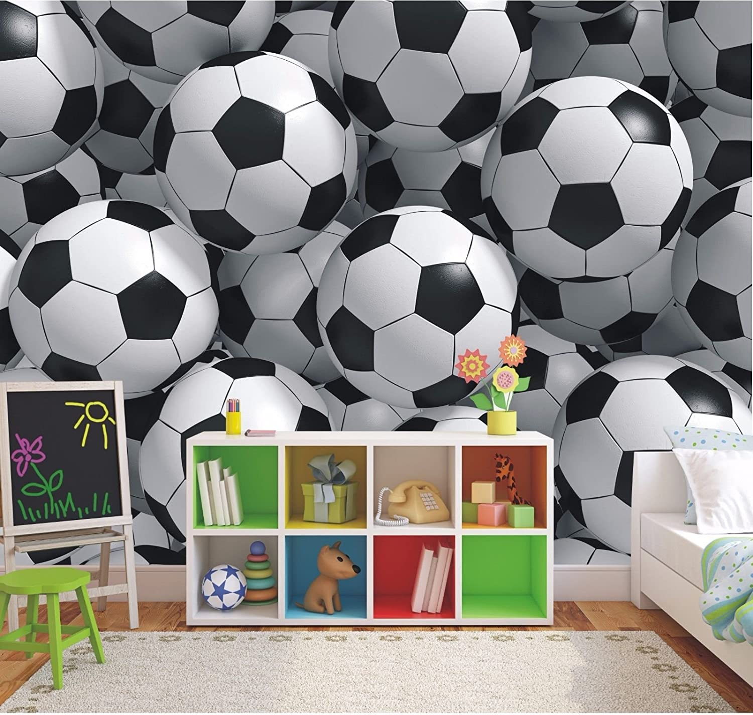 3d Footballs Wallpaper Mural Boys Bedroom Soccer Photo Wall Mural 2xl Amazon Co Uk Kitchen Home