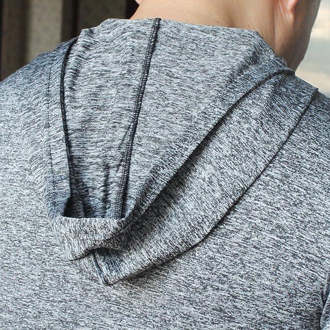 Alivebody Hombres camiseta manga larga con capucha deportiva