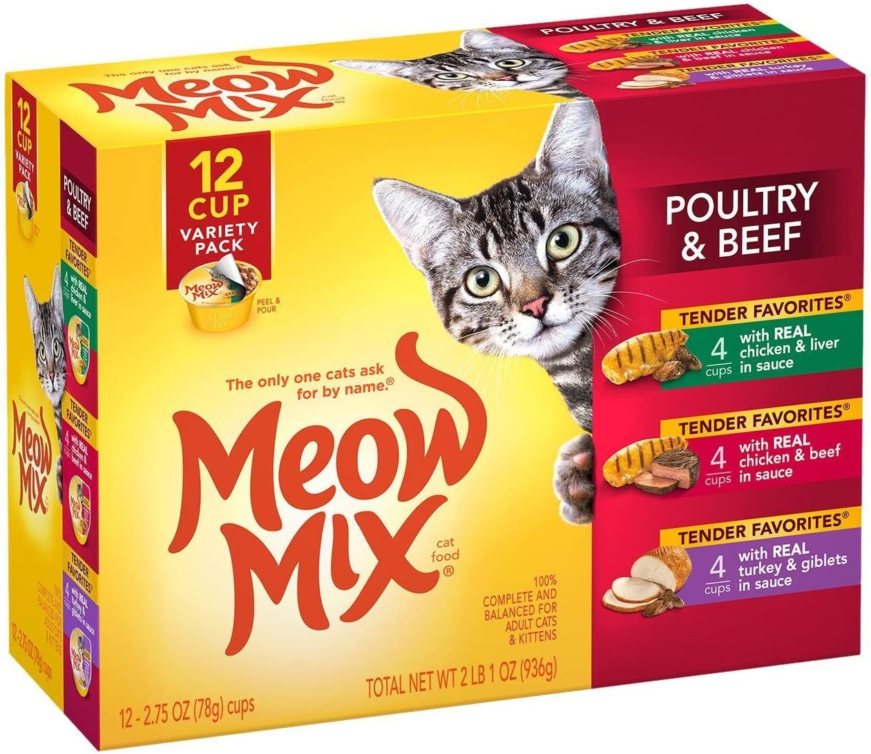 Meow Mix Beef Poultry Variety Pack – 12×2.75oz