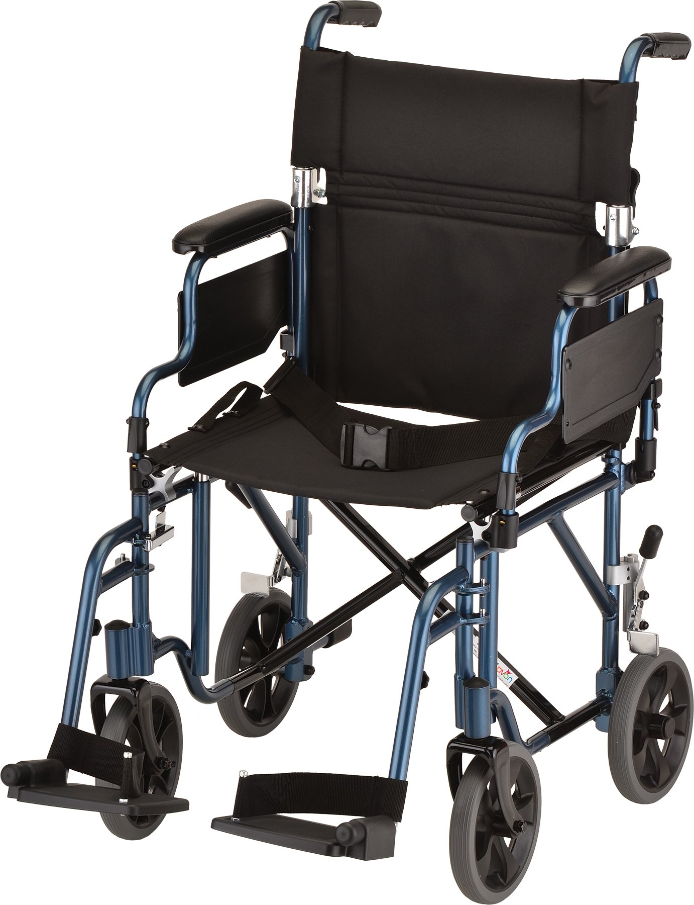 NOVA Medical Products 19'' Transport/Wheelchair with Detachable Arms, Blue