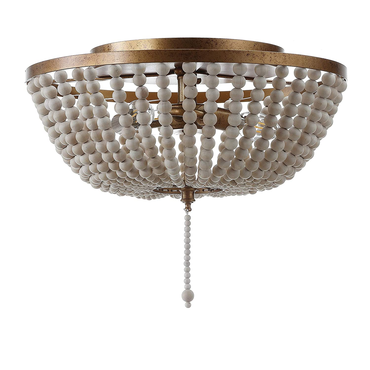 "JONATHAN Y JYL9019A Allison 15"" Wood Beaded/Metal Flush Mount, Antique Gold"