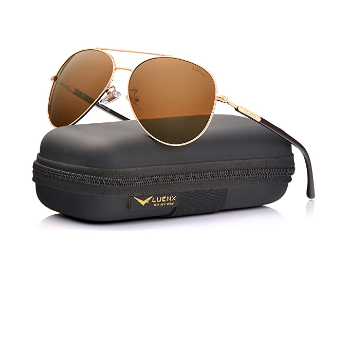 17285a6635 Image Unavailable. Image not available for. Color  LUENX Aviator Sunglasses  Mens Womens Polarized Brown Plastic Lens Gold Metal Frame Large 60mm