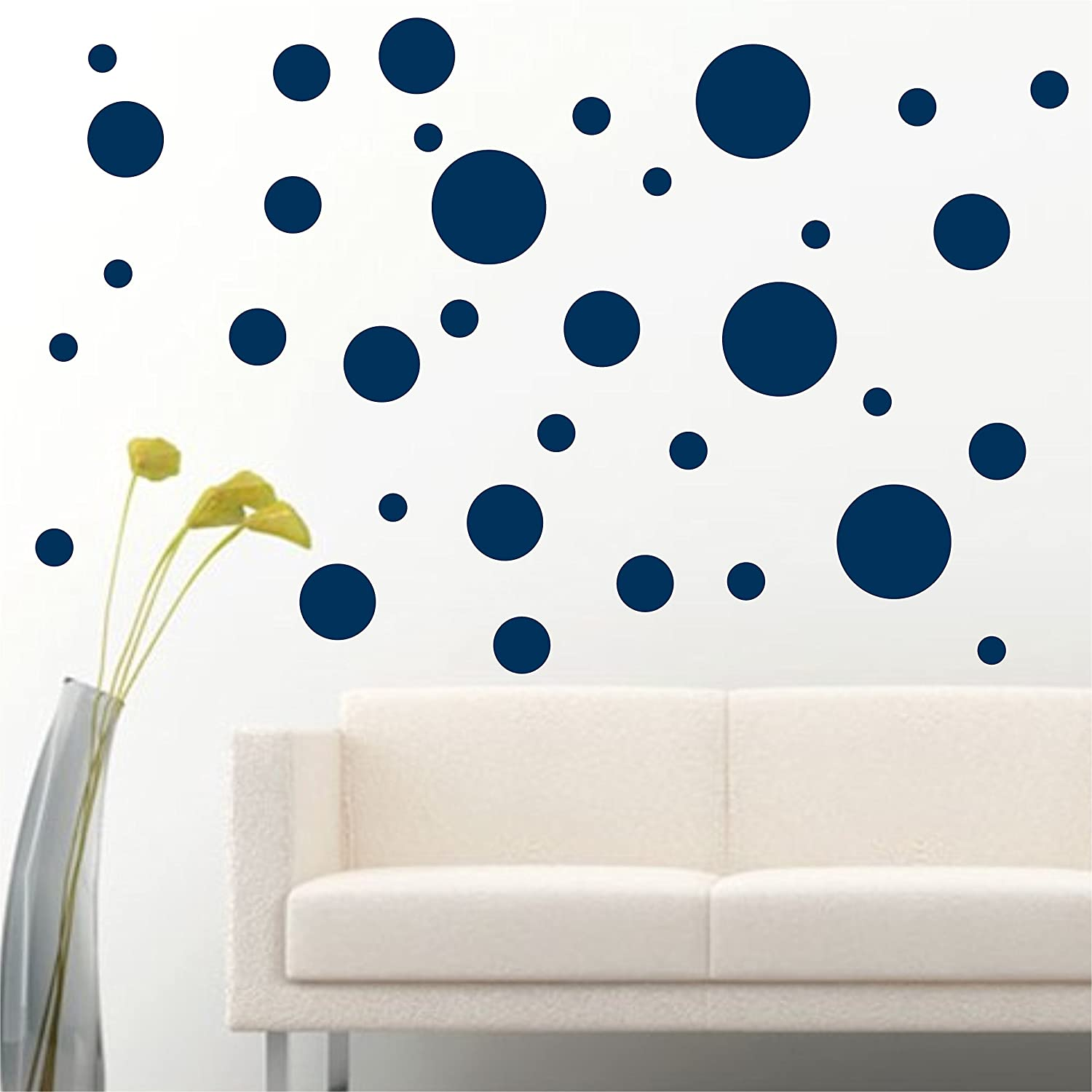 Amazon Com Jcm Custom Removable Easy Peel And Stick Wall Vinyl Decal Sticker Diy Decor Safe On Painted Polka Dots Circle Navy Blue 56 Pack Of 5 Size Arts Crafts Sewing