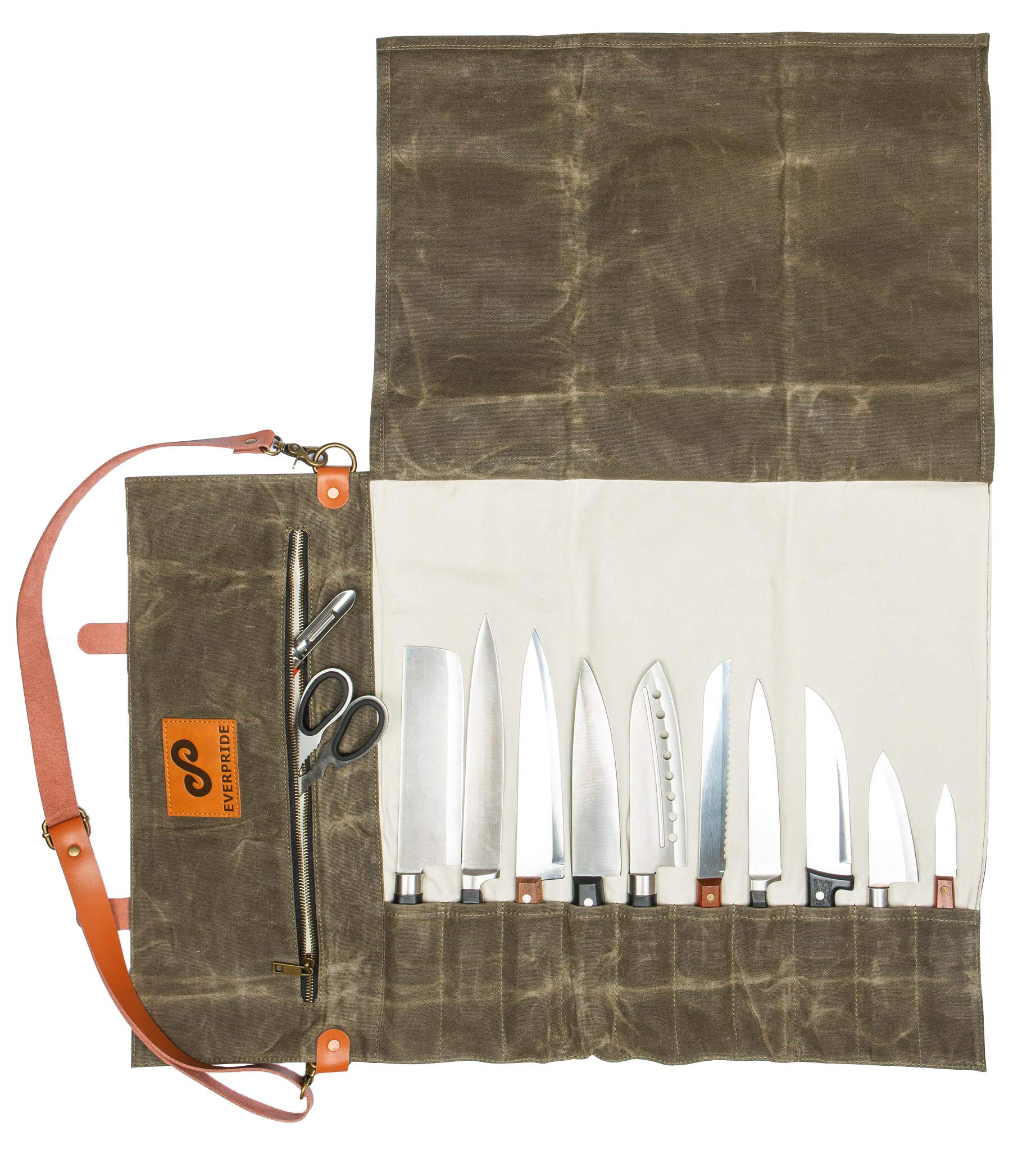 EVERPRIDE Chef Knife Roll Bag | Durable Waxed Canvas Knife Carrier Stores 10 Knives PLUS Zipper for Culinary Tools | Portable Chef Knife Case w/Handle & Shoulder Strap | Knives Not Included