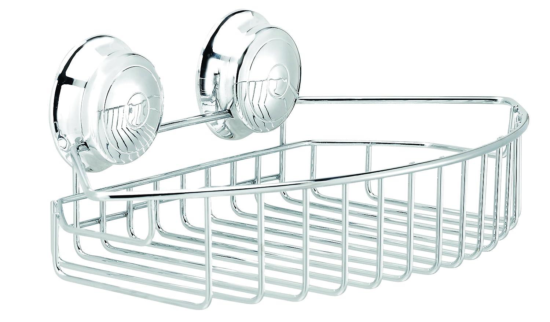 Tier basket shower caddy mild steel rust free stick n lock bathroom - Croydex Twist N Lock Small Storage Basket Chrome Amazon Co Uk Kitchen Home
