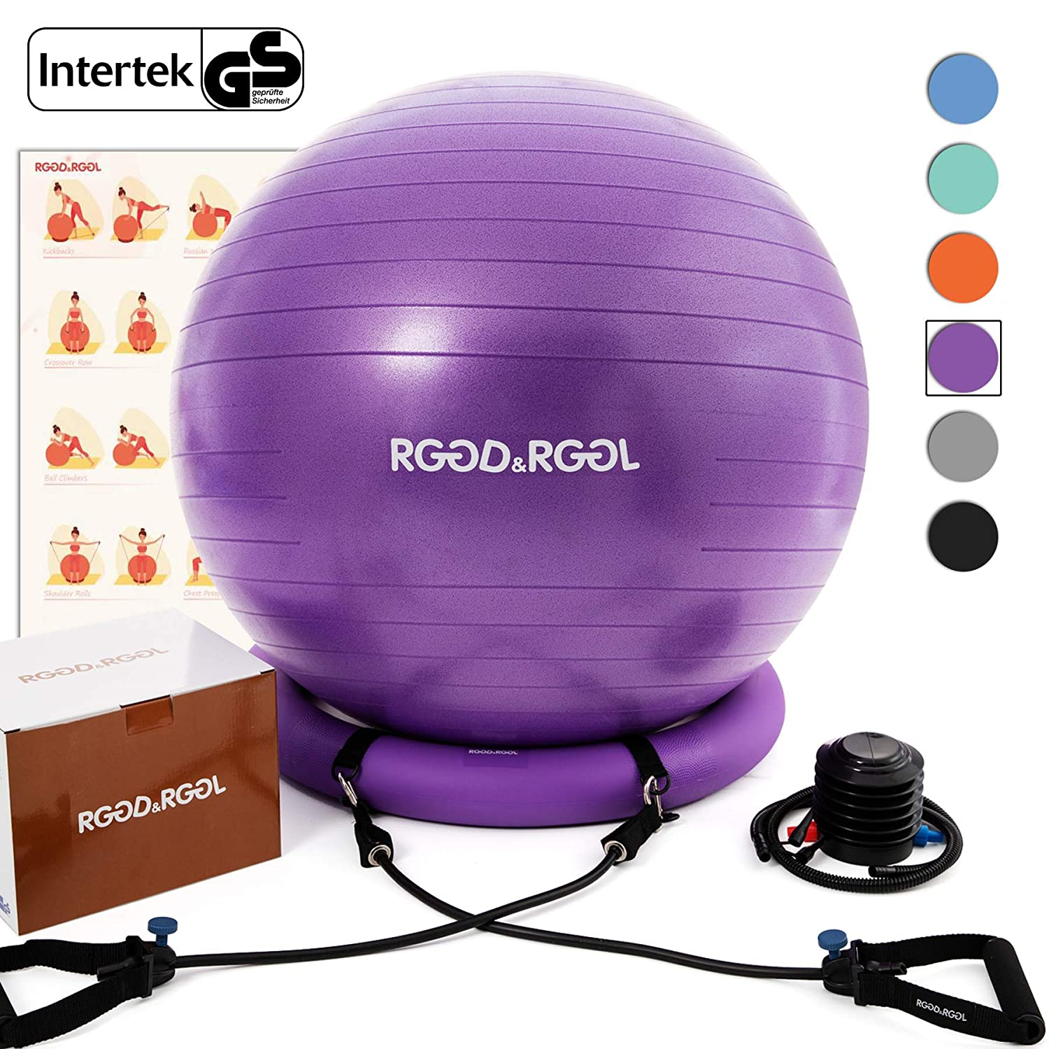 RGGD RGGL Yoga Ball Chair, Exercise Ball with Leak-Proof Design, Stability Ring 2 Adjustable Resistance Bands for Any Fitness Level, 1.5 Times Thicker Swiss Ball for Home Gym Office Pregnancy 65 cm