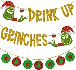 Drink Up Grinches Glittery Christmas Banner Decoration with Wine Cups + Green and Red Xmas Balls Bunting Pennant, Merry Friendsmas Grinchmas Themed Party Supplies, Holiday Happy New years Eve Hanging Decor