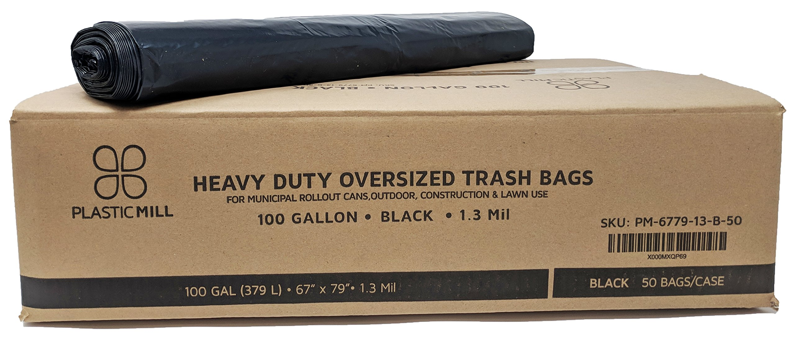 PlasticMill 100 Gallon, Black, 1.3 Mil, 67x79, 50 Bags/Case, Garbage Bags/Trash Can Liners.