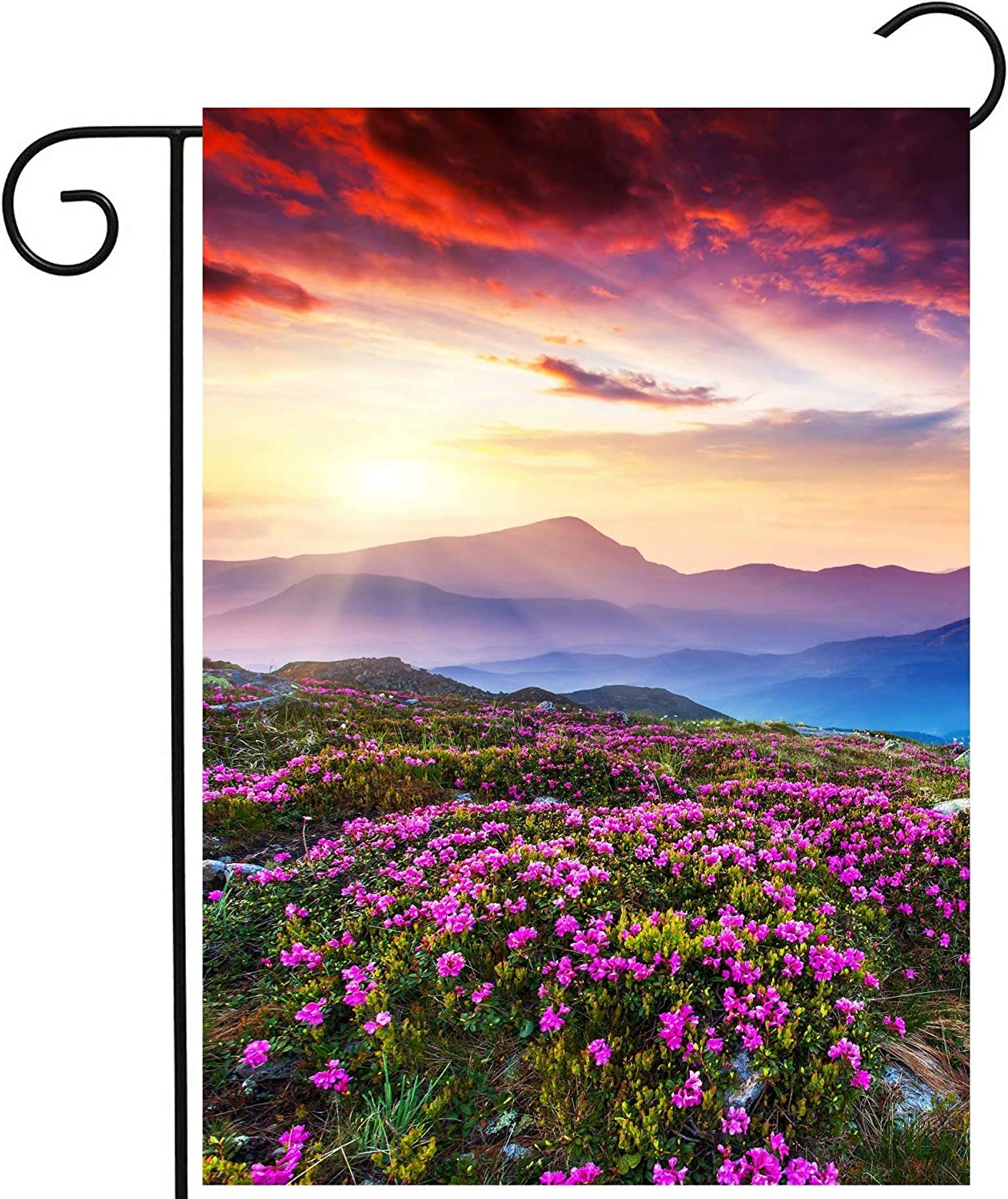 Pickako Pink Rhododendron Floral Flowers on Summer Spring Mountain Sunrise Sunset Garden Yard Flag 12 x 18 Inch, Double Sided Outdoor Decorative Welcome Flags Banners for Home House Lawn Patio