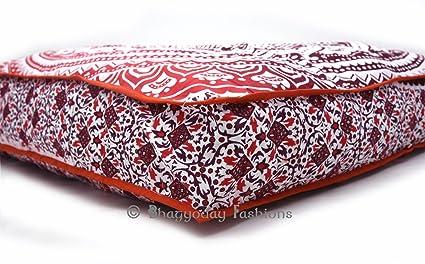 Bhagyoday Fashions Exclusivo Ombre Mandala Cuadrado Suelo Funda de Almohada, Oversize Otomano Puf Asiento Meditación