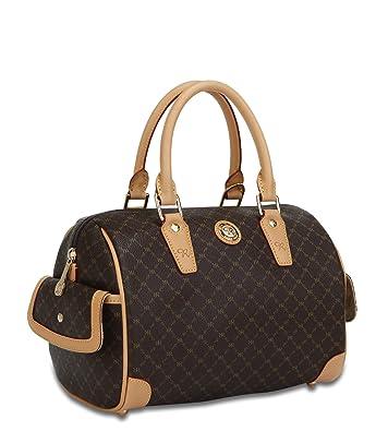 5603a053f1 Signature Brown Small Boston Bag by Rioni Designer Handbags ...