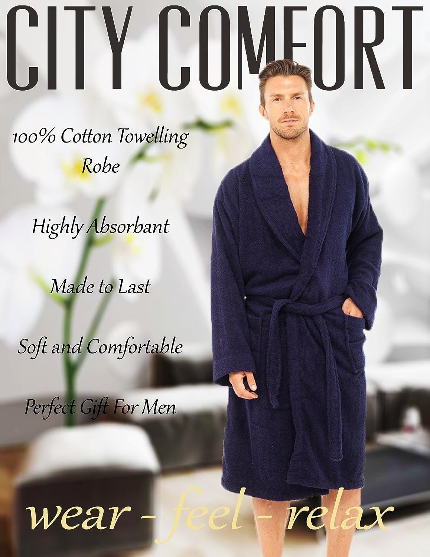 3XL und 4XL 2XL CityComfort Herren Frottee-Bademantel 100/% Baumwolle Frottee-Bademantel Badekurort-Hotel-Robe-Feiertagsgr/ö/ße M//L L//XL
