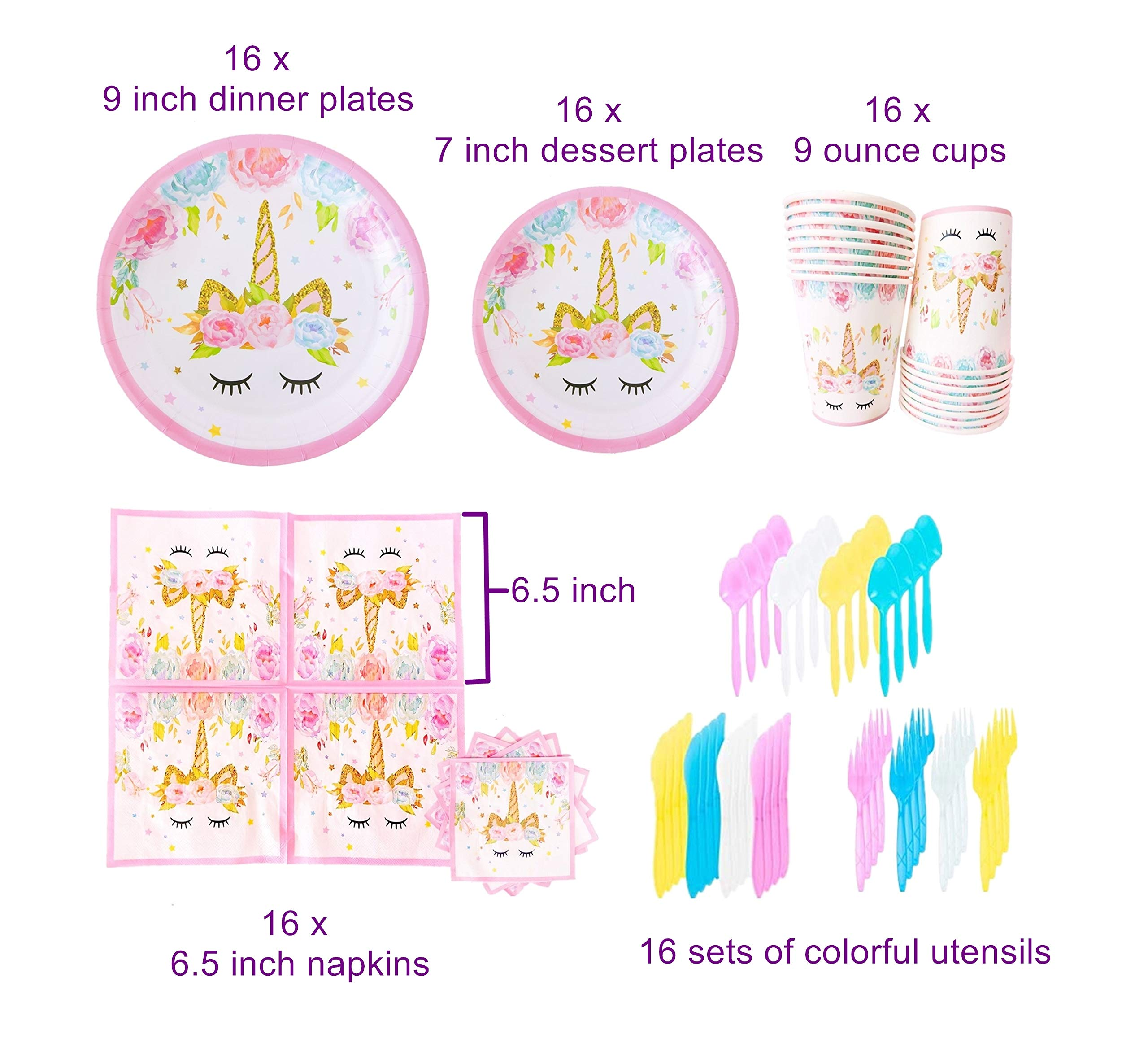 Unicorn Party Supplies Set with BONUS Glittery Unicorn Headband and 30 Balloons | 145 Piece Disposable Unicorn Themed… 4