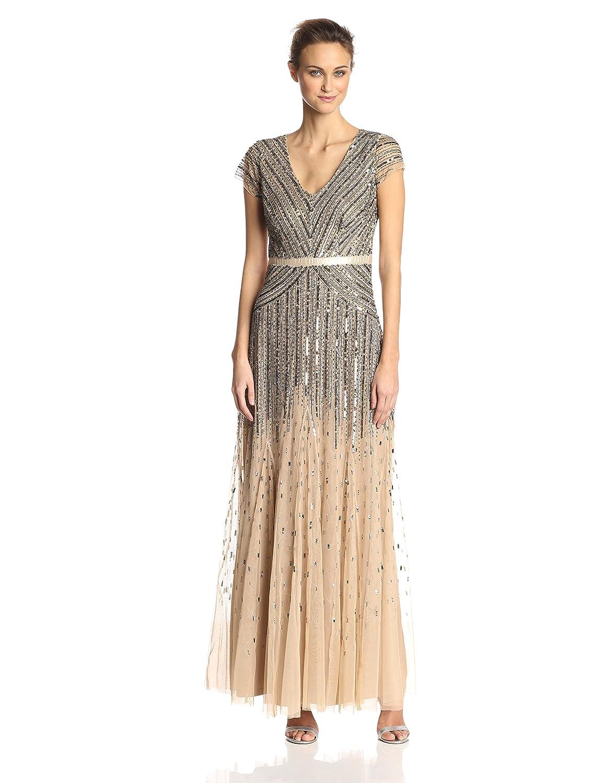 Amazon Adrianna Papell Womens Long Beaded V Neck Dress With