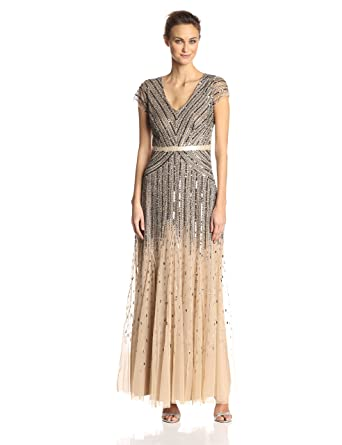 de712e27 Adrianna Papell Women's Long Beaded V-Neck Dress with Cap Sleeves and  Waistband: Amazon.ca: Clothing & Accessories