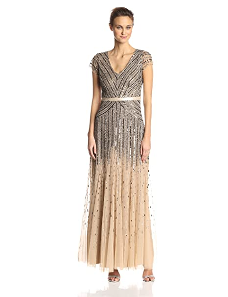 18794e595cea14 Adrianna Papell Women's Long Beaded V-Neck Dress with Cap Sleeves and  Waistband, Nude