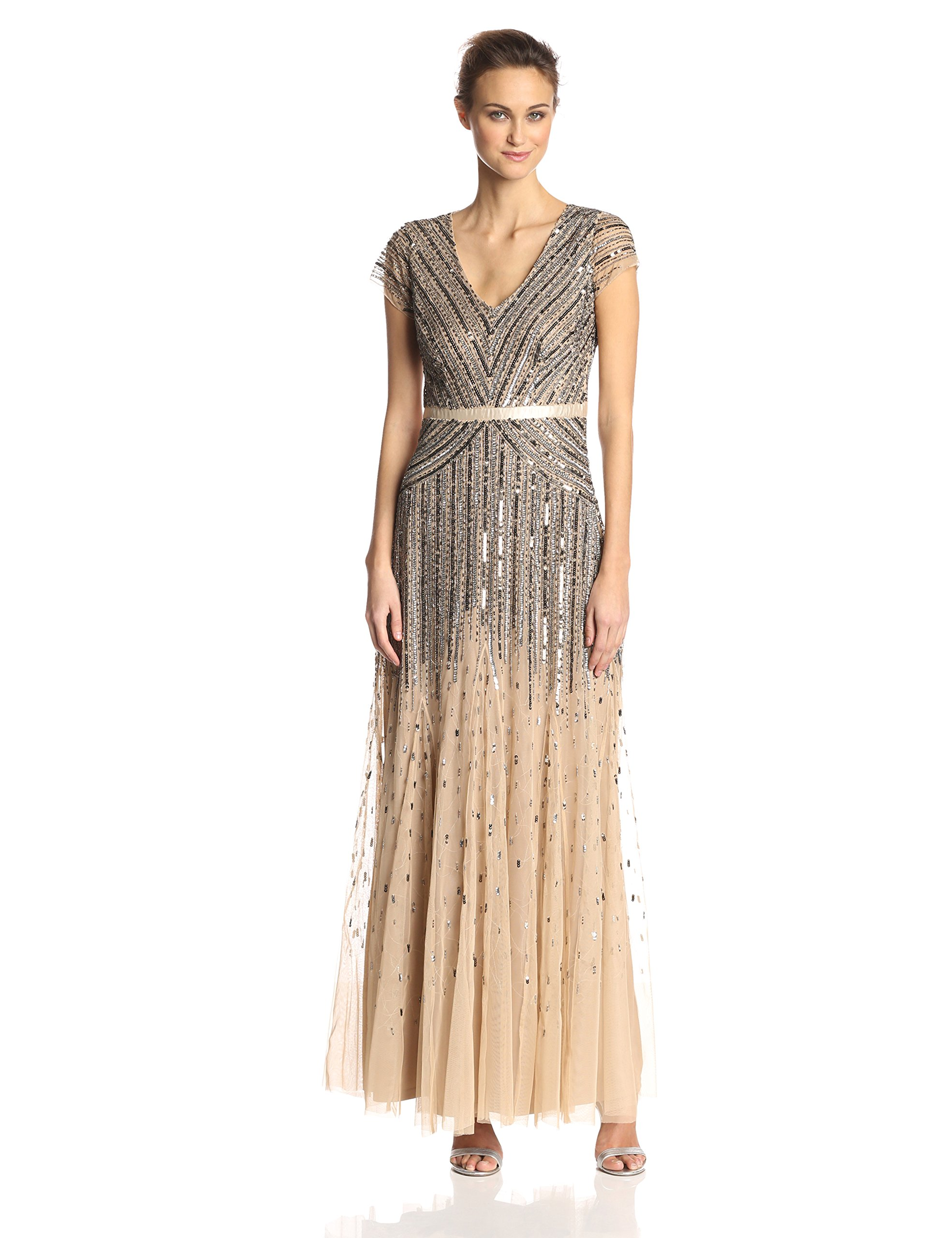 Adrianna Papell Women's Long Beaded V-Neck Dress With Cap Sleeves and Waistband, Nude, 8