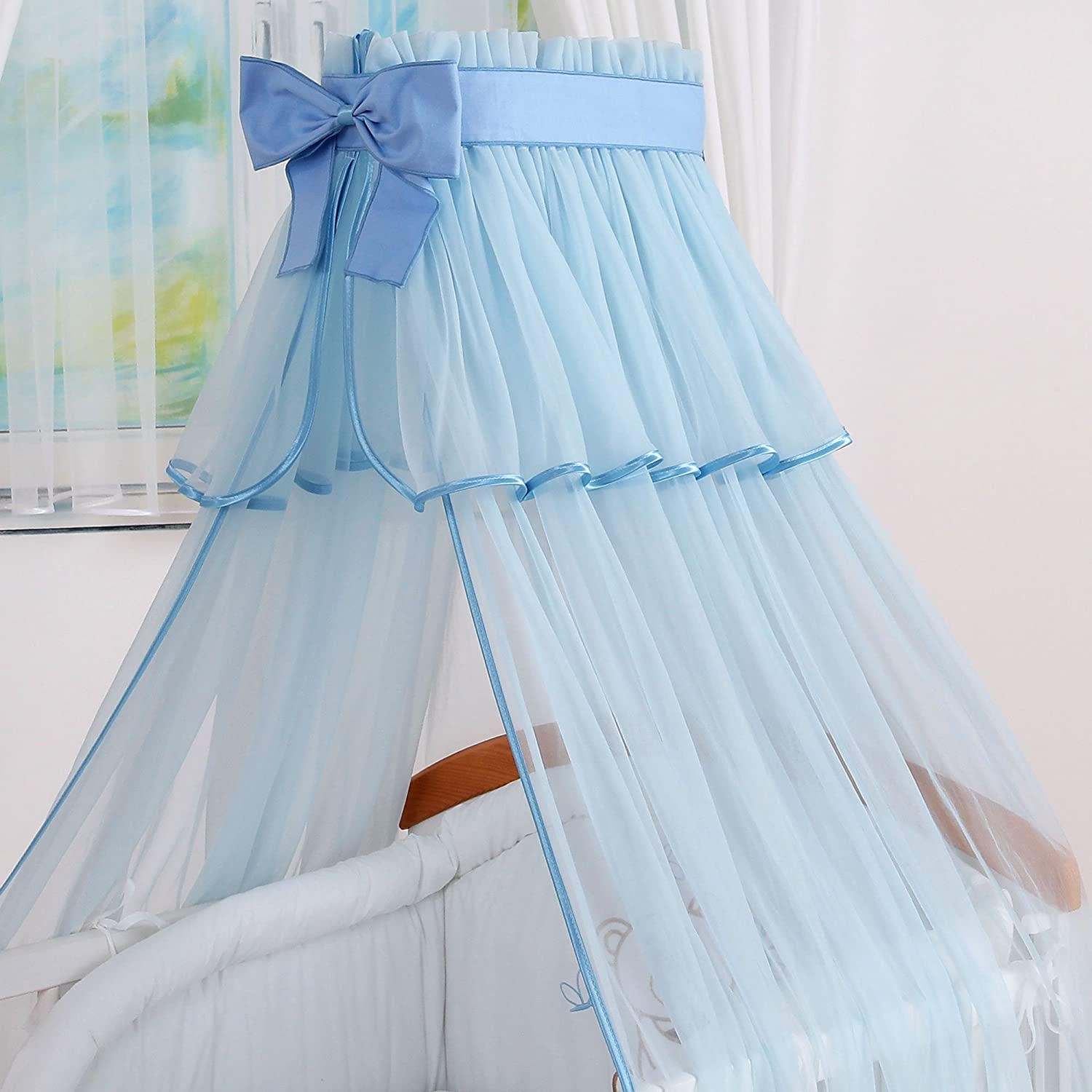 LUXURIOUS BIG CANOPY DRAPE CANOPY HOLDER to fit Baby Cot or Cot Bed BLUE 480x160cm