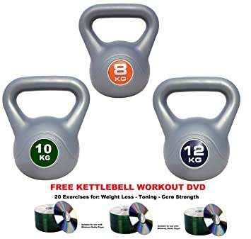 UK Fitness Kettlebell Set 8kg 10kg 12kg Vinyl Of 3