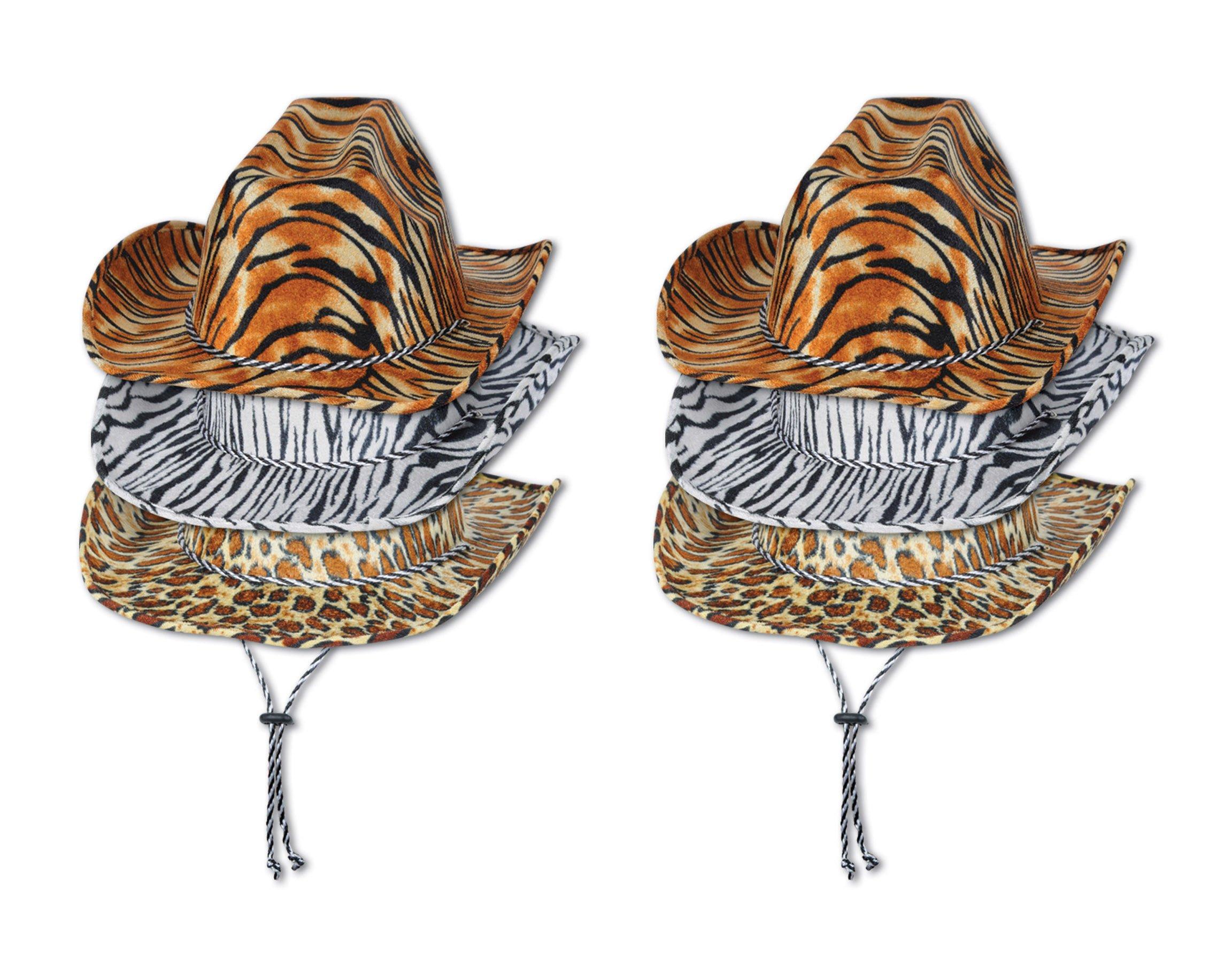 Beistle 60720 6-Piece ASST Animal Print Cowboy Hats