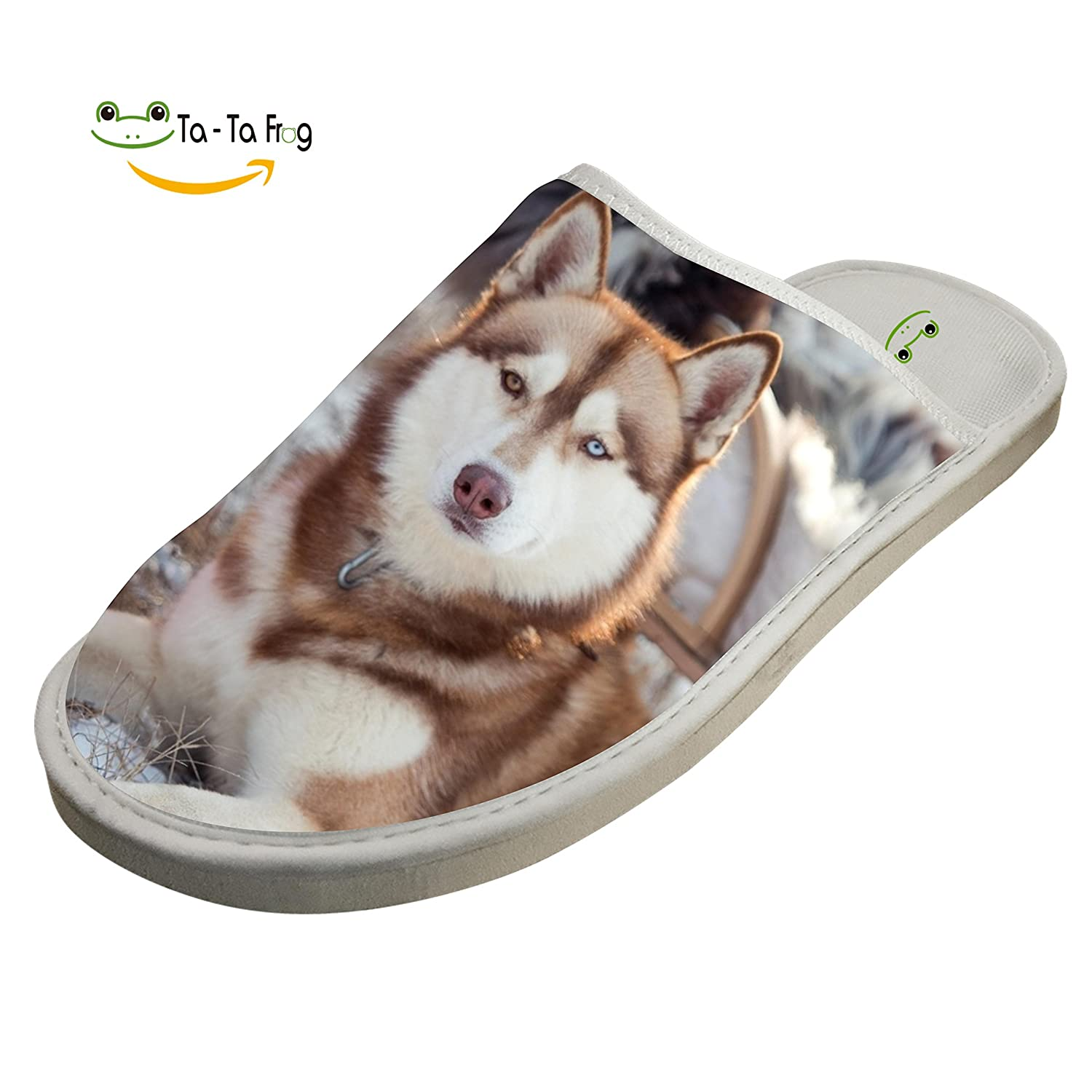 b75ef5f1f Amazon.com  Loyal Husky Dog Puppy Slippers Home Slip-On Sandals Flat  Sleeppers Shoes Custom Flip-Flops Adults 15  Clothing