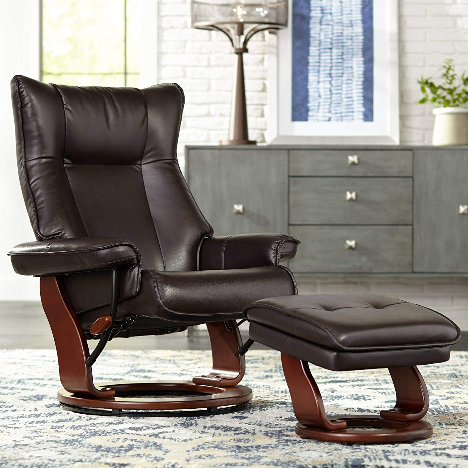 Morgan Java Faux Leather Ottoman and Swiveling Recliner