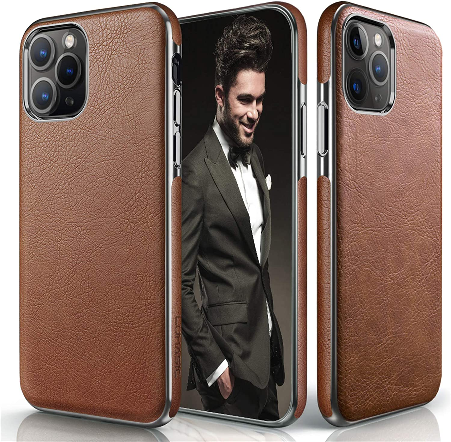 LOHASIC iPhone 11 Pro Case, Luxury Premium Leather Slim Thin Business Style Elegant Non Slip Soft Grip Flexible Shockproof Protective Cases Compatible with Apple iPhone 11 Pro 5.8 inch 2019 - Brown