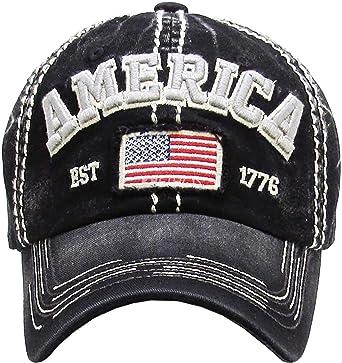 55c07c18a90a75 Men's USA Flag America Vintage Ball Cap (Black) at Amazon Men's ...