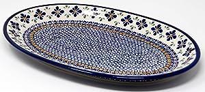 Polish Pottery Oval Serving Platter From Zaklady Ceramiczne Boleslawiec Mosaic Flower Pattern, Dimensions: 14 Inch X 9 Inch