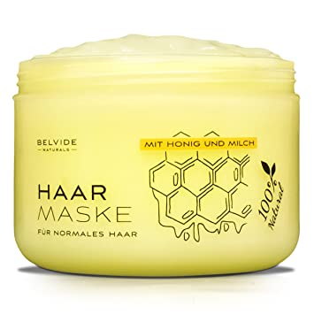 belvide natà rliche haarmaske mit honig milchproteinen jojobaà l