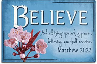 product image for Lantern Press Matthew 21:22, Inspirational (12x18 Aluminum Wall Sign, Wall Decor Ready to Hang)