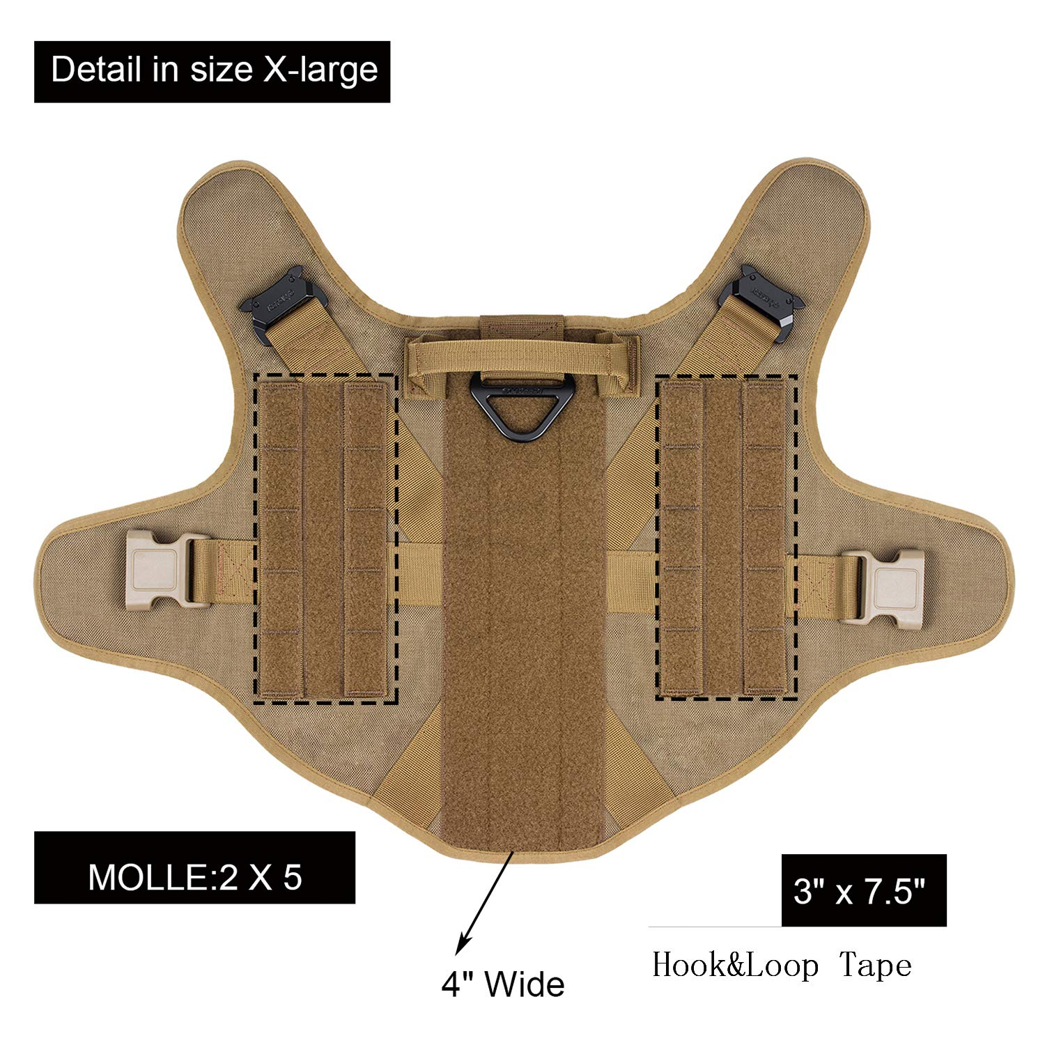 ICEFANG Dog Modular Harness,Military K9 Working Dog Tactical Molle Vest,No Pull Front Clip,Unbreakable Metal Quick Release Buckle Snap-Proof (XL (32''-39'' Girth), CB-Molle Half Body) by ICEFANG (Image #4)