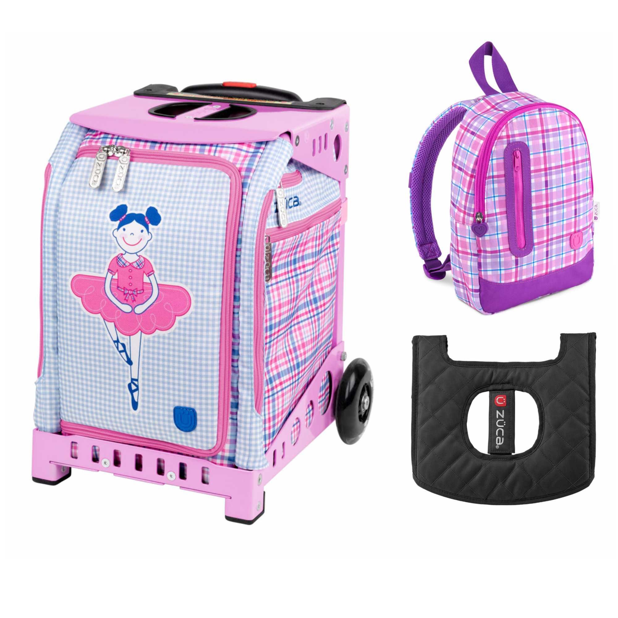 ZUCA Kids' Mini Ballerina Bag / Pink Frame + Backpack and Seat Cushion by ZUCA