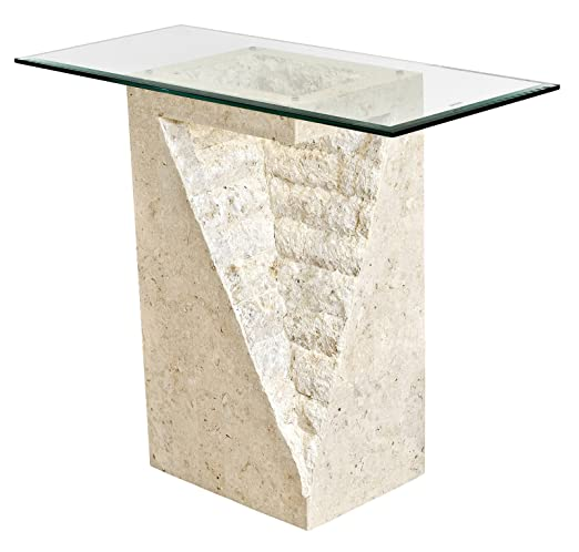 Febland Mactan Athens Pedestal Mesa, Piedra, Color Crema: Amazon ...
