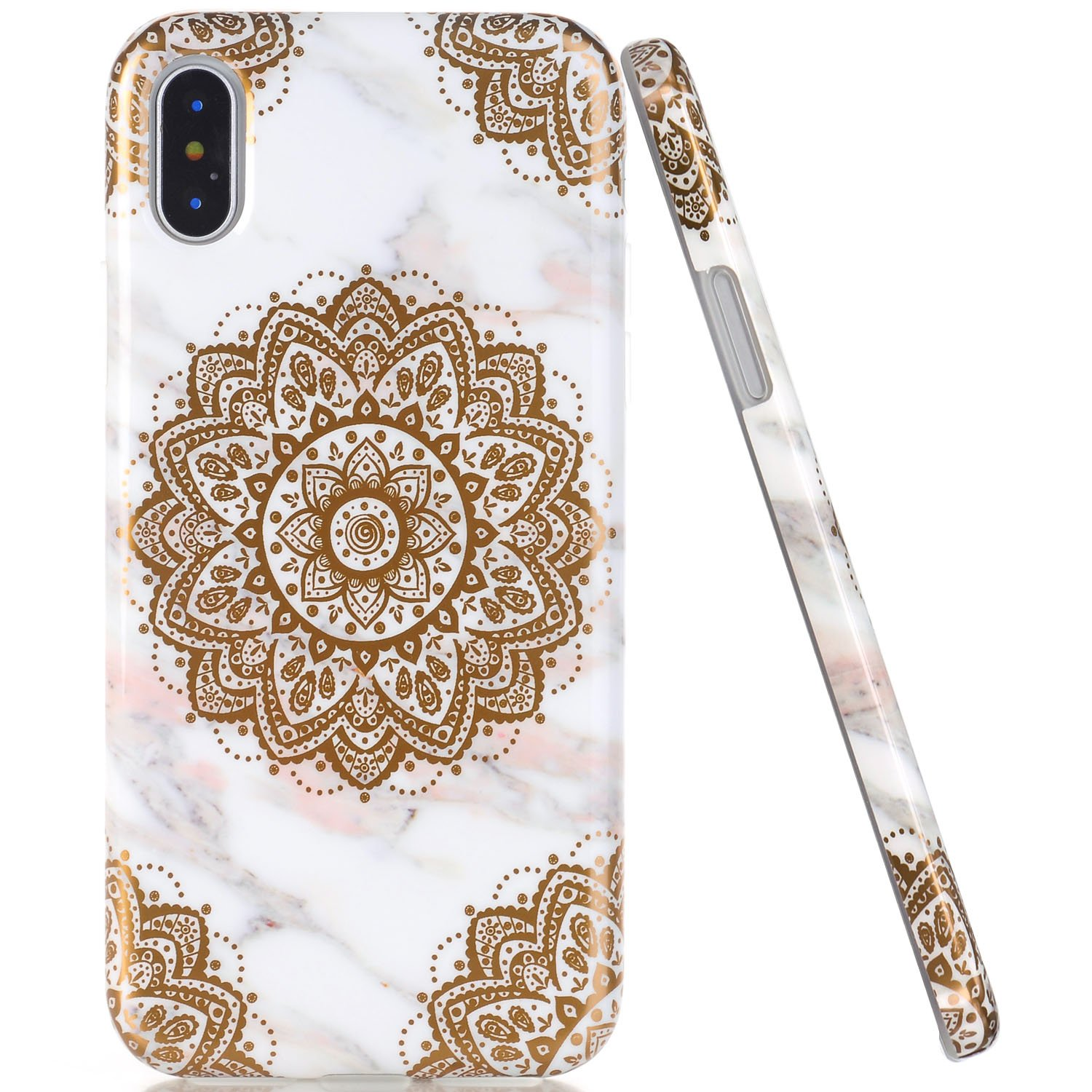 reputable site e0c4b 75040 JAHOLAN iPhone X Case iPhone Xs Case Shiny Gold Mandala Flower Marble  Design Clear Bumper TPU Soft Rubber Silicone Cover Phone Case for iPhone Xs  ...