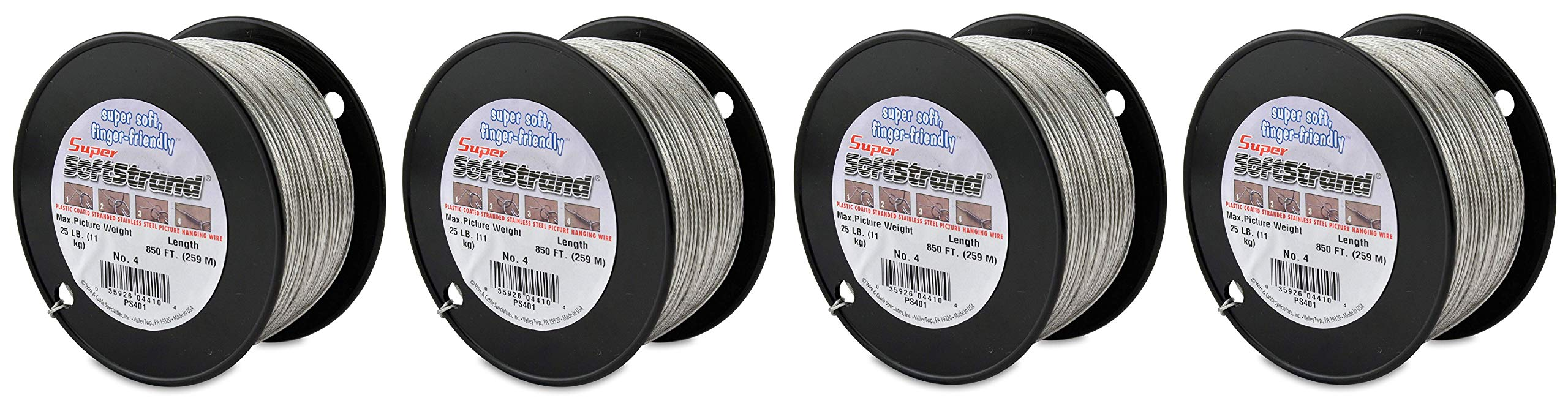 SuperSoftstrand Size 4-850-Feet Picture Wire Vinyl Coated Stranded Stainless Steel (Fоur Paсk)