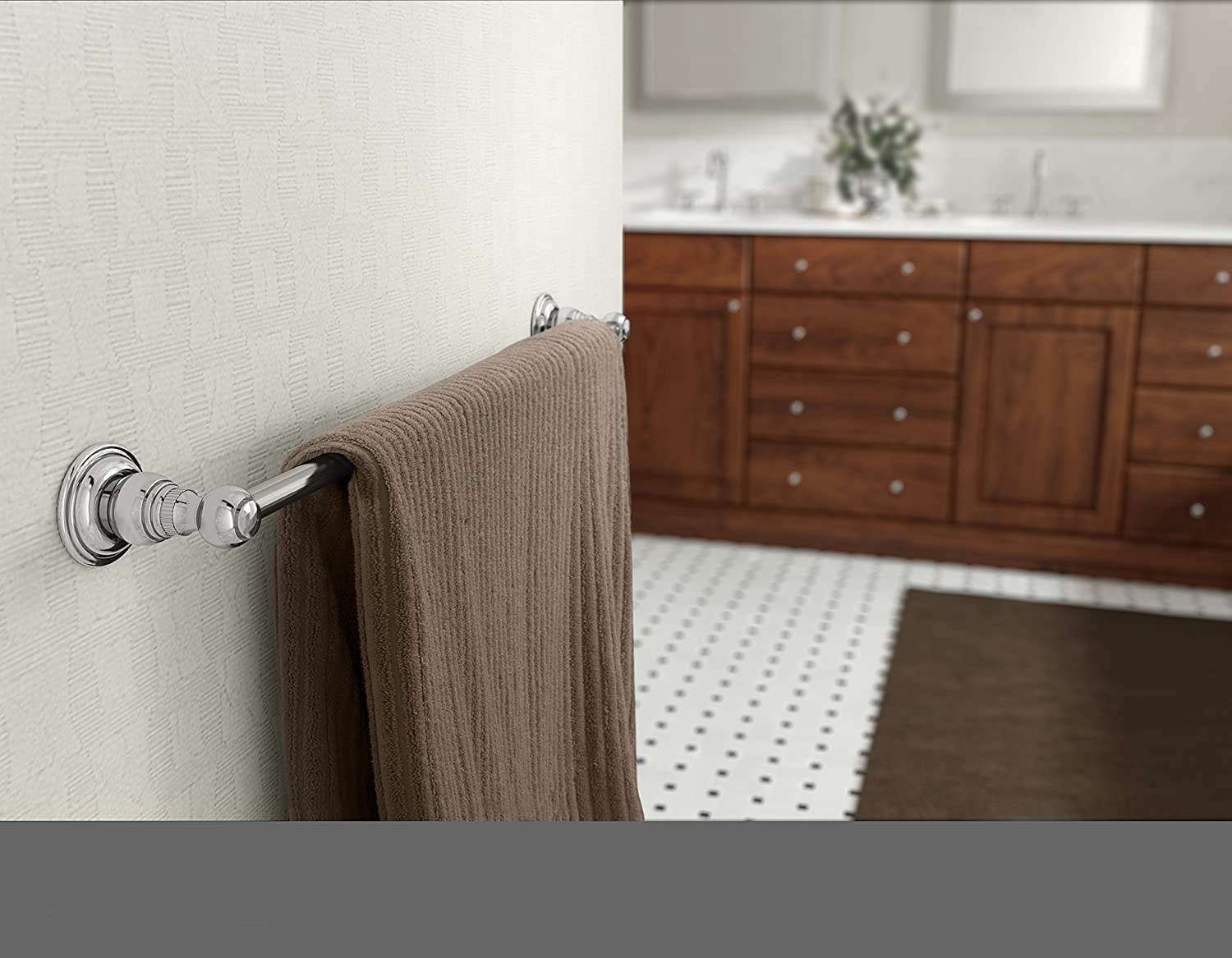 Symmons 443TB-18 Carrington 18 in Wall-Mounted Towel Bar in Polished Chrome