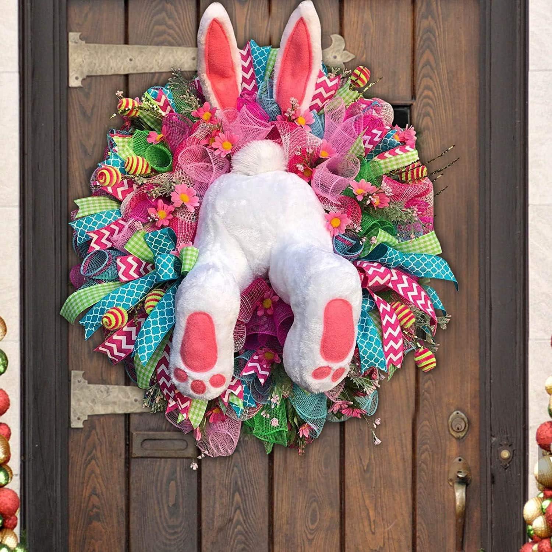 Easter Bunny Ornament Easter Wall Door Hanging Wreath Decorazione Floreale di Pasqua per Il Festival di Primavera Jackallo Easter Thief Bunny Butt con Orecchie Cartoon Bunny Shape Door Wreath