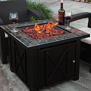 XtremepowerUS Outdoor Patio Heater Propane Heater Adjustable Flame Propane Gas Heater, Firepit Heater Bronze