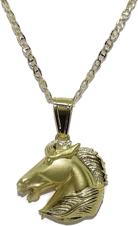 Espectacular Collar de Oro Amarillo de 18k con Cabeza de Caballo de Oro Amarillo Mate y Brillo de 18k con Cadena Ancla de 45cm de Larga y 2mm de Ancha. Total; 10.10gr de Oro de 18k