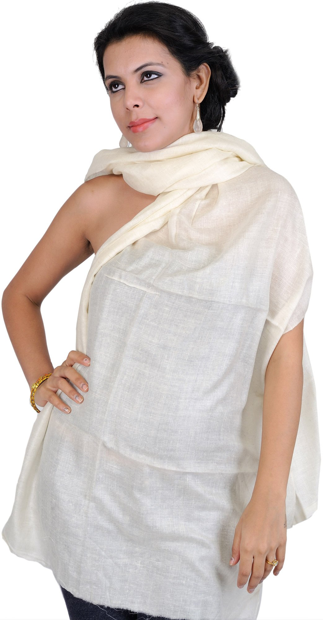 Exotic India Plain Stole as an Imitation of Shahtoosh, - Color Ivory